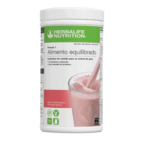 Batido herbalife formula 1 sin sabor frambuesa y chocolate blanco