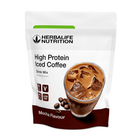 high protein iced coffee herbalife sabor mocha_